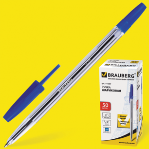 Ручка шариковая BRAUBERG Line, корпус прозрачный, толщ.письма 1,0 мм, 141097, синяя