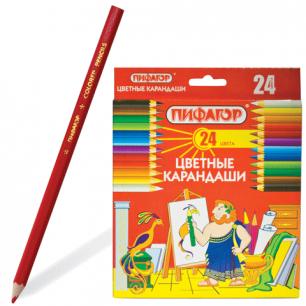 Карандаши цветные  ПИФАГОР 24 цв., классические, заточенные, картонная упаковка, 180298