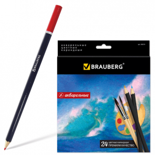 """Карандаши цветные акварельные BRAUBERG """"Artist line"""", 24 цв., заточенные, высшее качество, 180570"""
