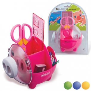 """Канцелярский детский набор BRAUBERG """"Пигги"""" в форме поросенка, 5 предметов, ассорти, блистер, 231934"""