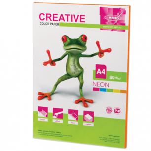 Бумага CREATIVE color (Креатив)  А4, 80г/м, 50 л. неон оранжевая, БНpr-50ор, ш/к 40402