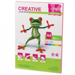 Бумага CREATIVE color (Креатив)  А4, 80г/м, 50 л. неон розовая, БНpr-50р, ш/к 43328