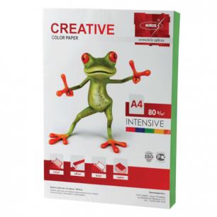 Бумага CREATIVE color (Креатив)  А4, 80г/м, 100 л. интенсив зеленая, БИpr-100з, ш/к 45223