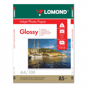 Фотобумага LOMOND д/струйной печати А4, 85г/м, 100л., односторонняя, глянцевая (0102145)