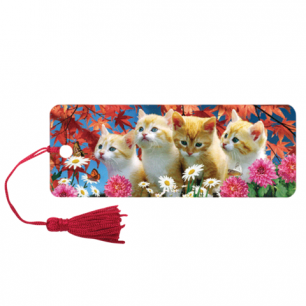 "Закладка д/книг с линейкой 3D BRAUBERG, объемная, ""Котята"", декор. шнурок-завязка, 125762"