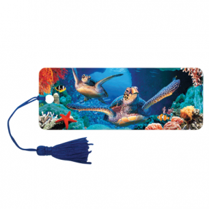 """Закладка д/книг с линейкой 3D BRAUBERG, объемная, """"Подводный мир"""", декор. шнурок-завязка, 125771"""