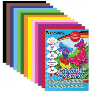 Цветной картон А4 210*297мм BRAUBERG (детская серия), ДВУХСТОР. ТОНИРОВАН., 48л, 12цв, склейка, 124744