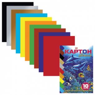 """Цветной картон А5 140*195мм """"Хатбер"""" VK МЕЛОВАННЫЙ, 10л., 10цв., Дельфины, 10Кц5к_04323 (N000281)"""