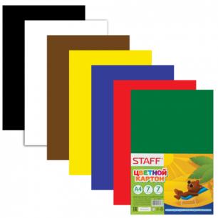 Цветной картон А4 200*283мм STAFF, 7листов, 7 цветов, 127051