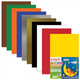 Цветной картон А4 200*283мм STAFF, ВОЛШЕБНЫЙ, 10 цветов, 10 листов, 127052
