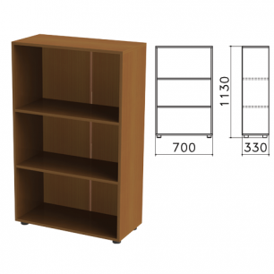 """Шкаф (стеллаж)  """"Канц"""" (ш700*г330*в1130 мм), 2 полки, цвет орех, ШК39.9"""