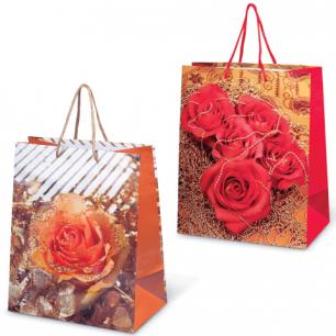 Пакет подарочный ламинированный, 26х32х15 см, цветы, шк7486