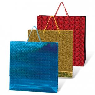 Пакет подарочный ламинированный 40х55х24, голографический, цвет ассорти, шк07790
