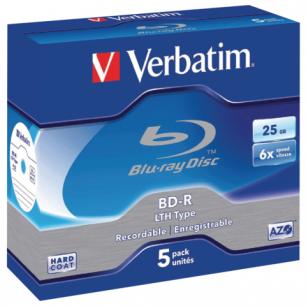 Диски BD-R (Blu-ray)  VERBATIM 25Gb 6x КОМПЛЕКТ 5 шт. Jewel Case 43715