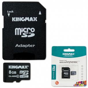 Карта памяти micro SDHC 8Gb KINGMAX скорость передачи данных 10Мб/сек (class 10)  с адаптером