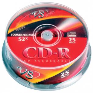 Диски CD-R VS 700Mb 52x 25шт Cake Box с поверхностью для печати VSCDRIPCB2501 (ш/к - 20298)