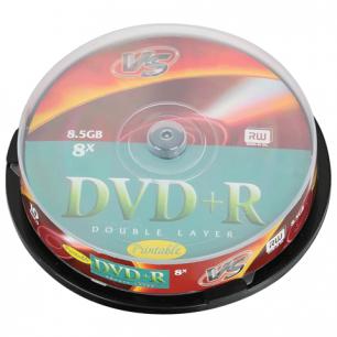 Диски DVD+R VS 8,5 Gb 8x 10шт Cake Box двухслойный VSDVDPRDLCB1002 (ш/к - 20700)