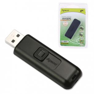 Флэш-диск APACER 4GB Handy Steno AH325 USB 2.0, скорость чтения/записи - 10/3 Мб/сек