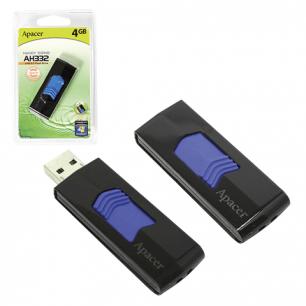Флэш-диск APACER 4GB Handy Steno AH332 USB 2.0, скорость чтения/записи - 10/3 Мб/сек