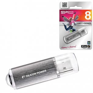 Флэш-диск SILICON POWER 8GB ultima II-I Series USB 2.0, скорость чт/записи - 10/5 Мб/сек, СЕРЕБРО