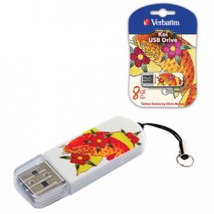 Флэш-диск VERBATIM 8GB Mini Tattoo Edition KOI FISH, USB 2.0,скорость чтения/записи - 8/2,5 Мб/сек