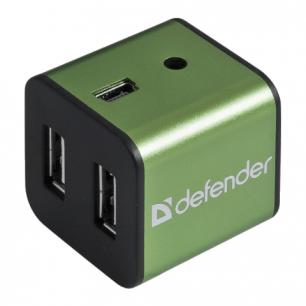 Хаб DEFENDER QUADRO IRON, USB 2.0, 4 порта, алюмин. корпус, порт для питания, 83506