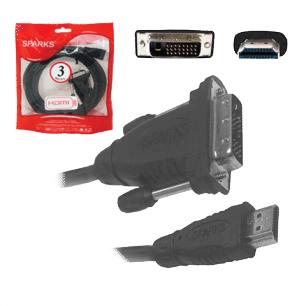 Кабель HDMI A-DVI-D SPARKS 3м, для передачи цифрового видеосигнала, SN1046