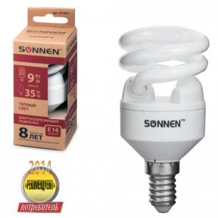 Лампа люминесц. энергосбер. SONNEN Т2, 9 (35) Вт, цоколь E14, 8000ч, тепл. свет, эконом, 451063