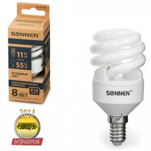 Лампа люминесц. энергосбер. SONNEN Т2, 11 (55) Вт, цоколь E14, 8000ч, хол. свет, эконом, 451068