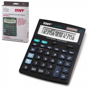 Калькулятор STAFF настольный STF-888-16, 16 разрядов, двойное питание, 200х150мм