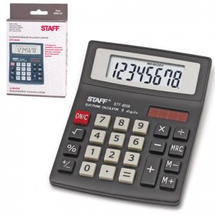 Калькулятор STAFF настольный STF-8008, 8 разрядов, двойное питание, 113х87мм