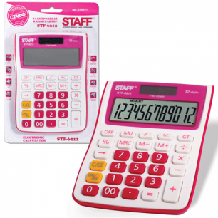 Калькулятор STAFF настольный STF-6212 МАЛИНОВЫЙ, 12 разрядов, двойное питание, 148х105мм, НА БЛИСТЕРЕ