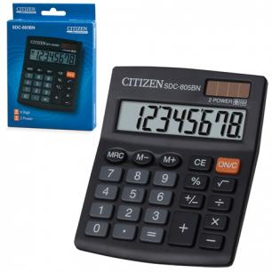 Калькулятор CITIZEN настольный SDC-805BN, 8 разрядов, двойное питание, 125x102мм
