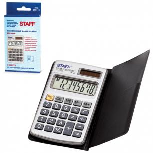 Калькулятор STAFF карманный металлический STF-1008, 8 разрядов, двойное питание, 103х62мм