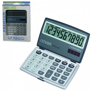 Калькулятор CITIZEN карманный CTC-110WB, 10 разрядов, двойное питание, 106x63мм