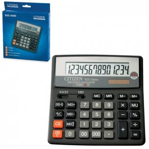 Калькулятор CITIZEN настольный SDC-640II, 14 разрядов, двойное питание, 156x156мм