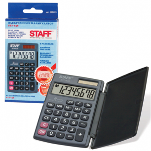 Калькулятор STAFF карманный STF-638, 8 разрядов, двойное питание, 120х75мм
