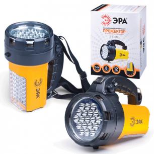 Фонарь ЭРА прожектор аккумуляторный, 19+24 белых светодиода, ЗУ от 220 и 12В, ремень, FA65M