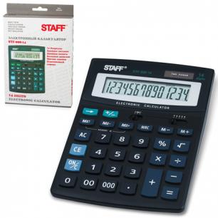 Калькулятор STAFF настольный STF-888-14, 14 разрядов, двойное питание, 200х150мм