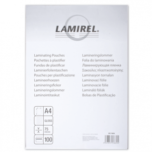 Пленки-заготовки д/ламинир-я LAMIREL, КОМПЛЕКТ 100шт, для формата А4, 75 мкм, LA-7865601