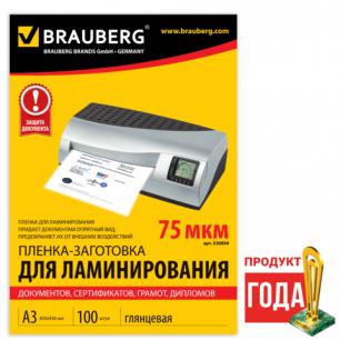 Пленки-заготовки д/ламинир-я BRAUBERG, КОМПЛЕКТ 100шт, для формата А3, 75 мкм, 530894