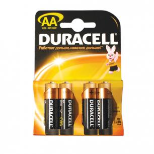 Батарейки DURACELL AA LR6, КОМПЛЕКТ 4шт., в блистере, 1.5В, (работают до 10 раз дольше)  (шк 2536)
