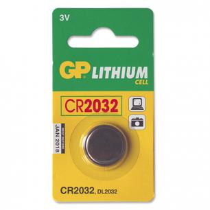 Батарейка GP (Джи-Пи)  CR2032, литиевая, d=20мм, h=3,2мм, в блистере (1шт), 3В, CR2032-C1
