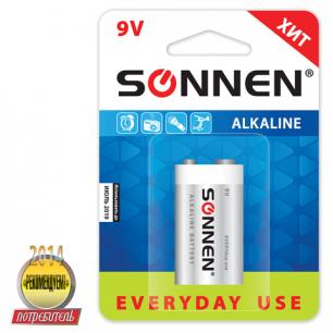 Батарейка SONNEN, 6LR61 (тип КРОНА), 1шт., АЛКАЛИН, в блистере, 9В, 451092