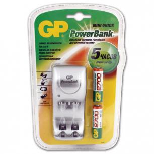 Зарядное устройство GP (Джи-Пи)  для 2-х NiMH аккум AA или ААА +2аккум АА 2700мАч, заряд5ч, РВ560GS270