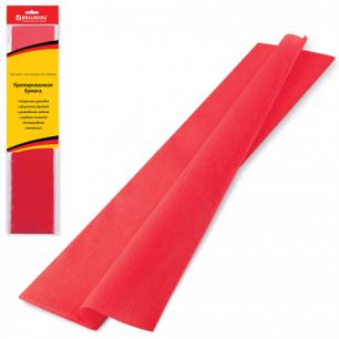Цветная бумага КРЕПИРОВАННАЯ BRAUBERG, растяжение до 65%, 25г/м, европодвес, красная, 50*200см, 124730