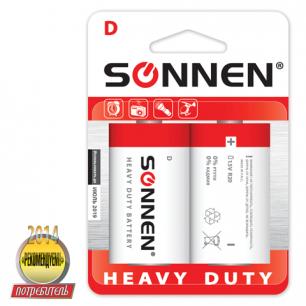 Батарейки SONNEN, D (R20), КОМПЛЕКТ 2шт., солевые, в блистере, 1.5В, 451100