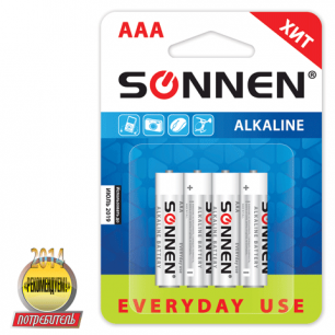 Батарейки SONNEN, AAA (LR03), КОМПЛЕКТ 4шт., АЛКАЛИН, в блистере, 1.5В, 451088