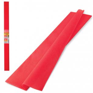 Цветная бумага КРЕПИРОВАННАЯ BRAUBERG, ПЛОТНАЯ, растяжение до 45%, 32г/м, рулон, красн, 50*250см, 126531