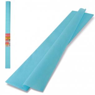 Цветная бумага КРЕПИРОВАННАЯ BRAUBERG, ПЛОТНАЯ, растяжение до 45%, 32г/м, рулон, голуб, 50*250см, 126534